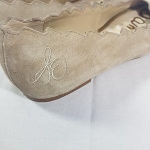Sam Edelman Shoes - Sam Edelman Francis Scalloped Edge Nude Suede Flat